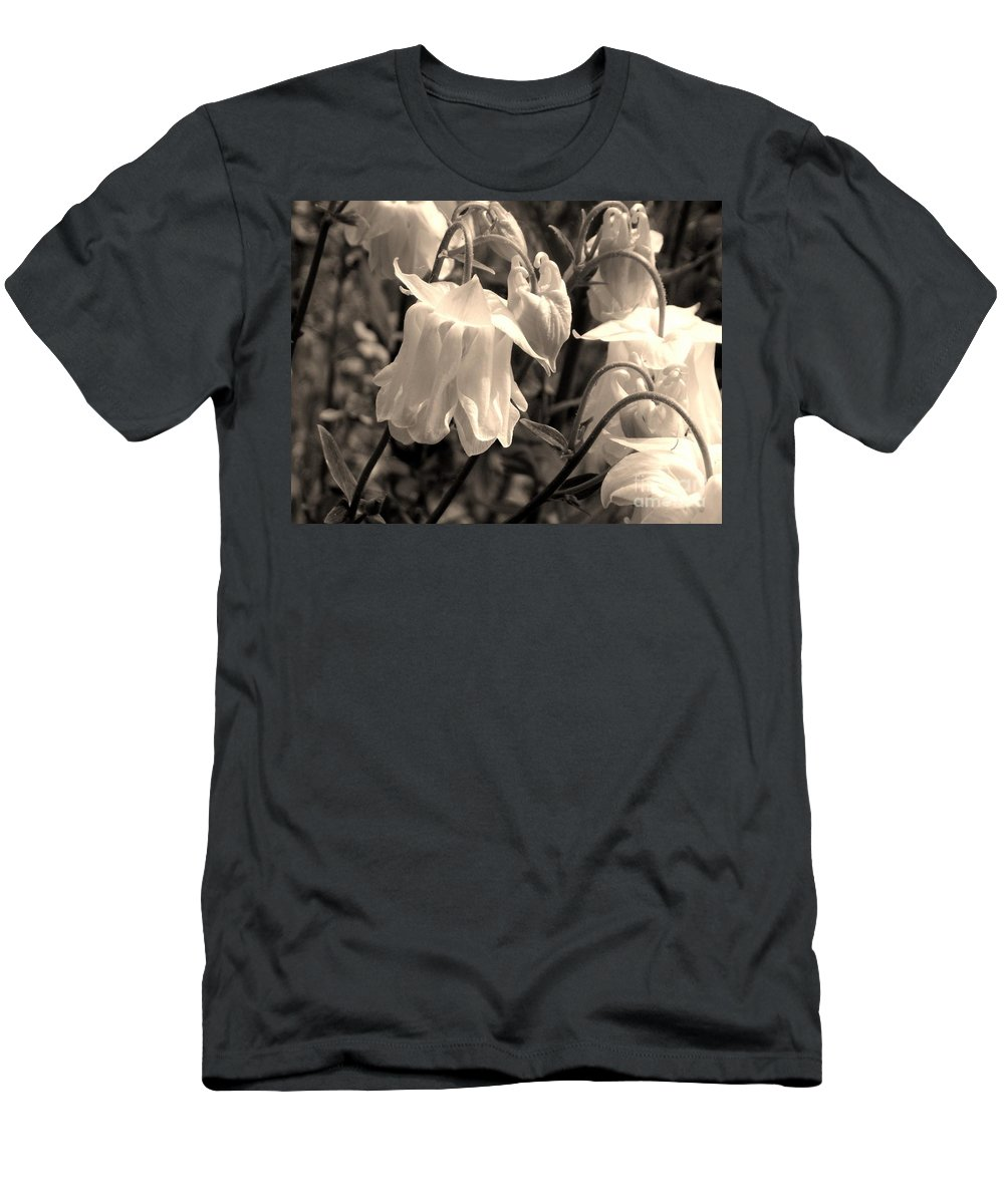 Men's T-Shirt (Athletic Fit) featuring the photograph White Columbine Lanterns Monochrome Horizontal by Renee Croushore