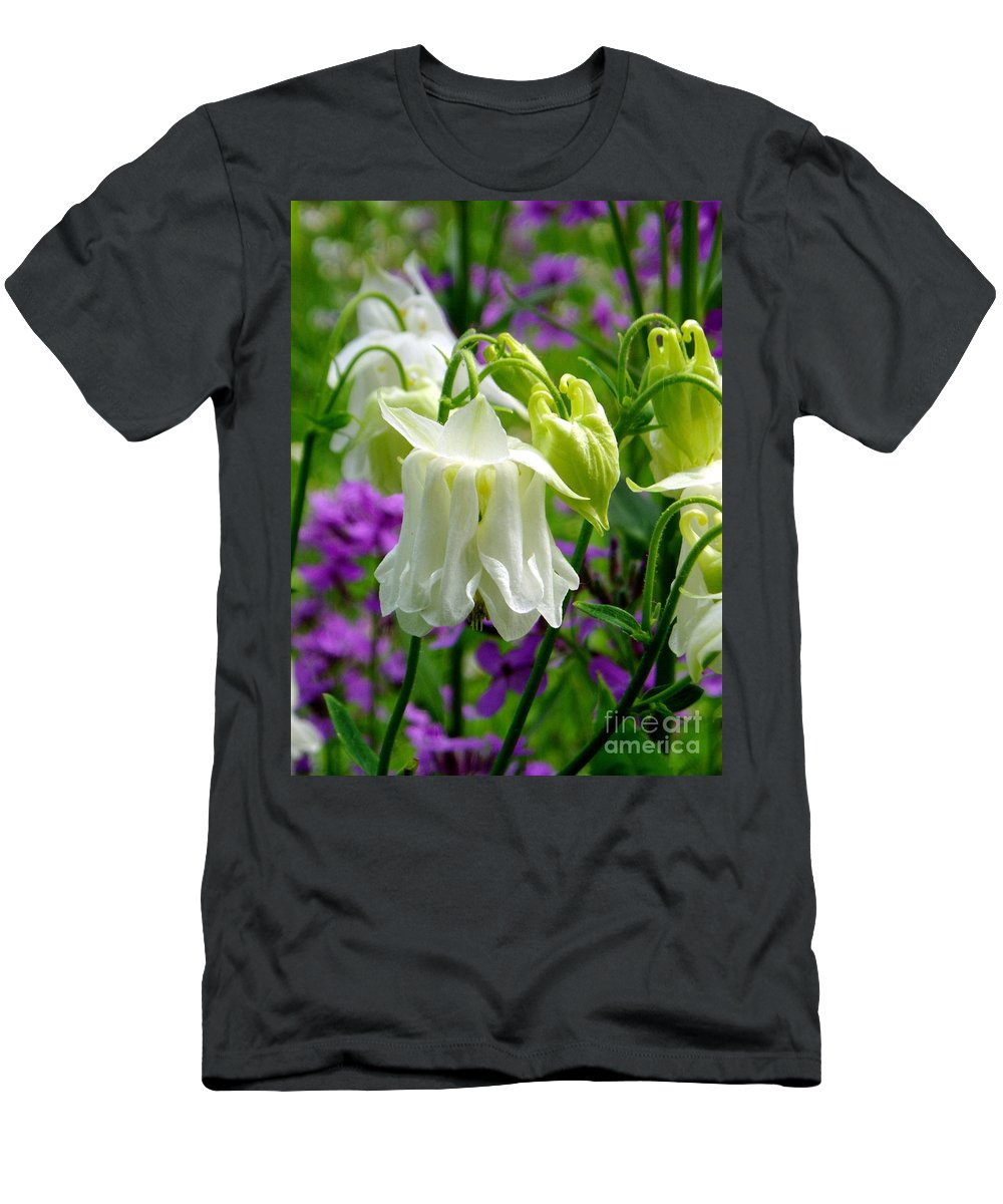 Men's T-Shirt (Athletic Fit) featuring the photograph White Columbine Lanterns Verticle by Renee Croushore