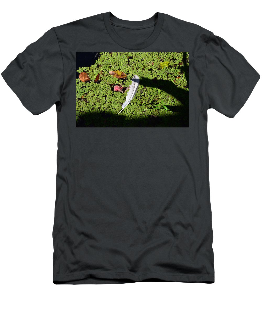 White Feather Men's T-Shirt (Athletic Fit) featuring the photograph White Feather Lost by David Lee Thompson