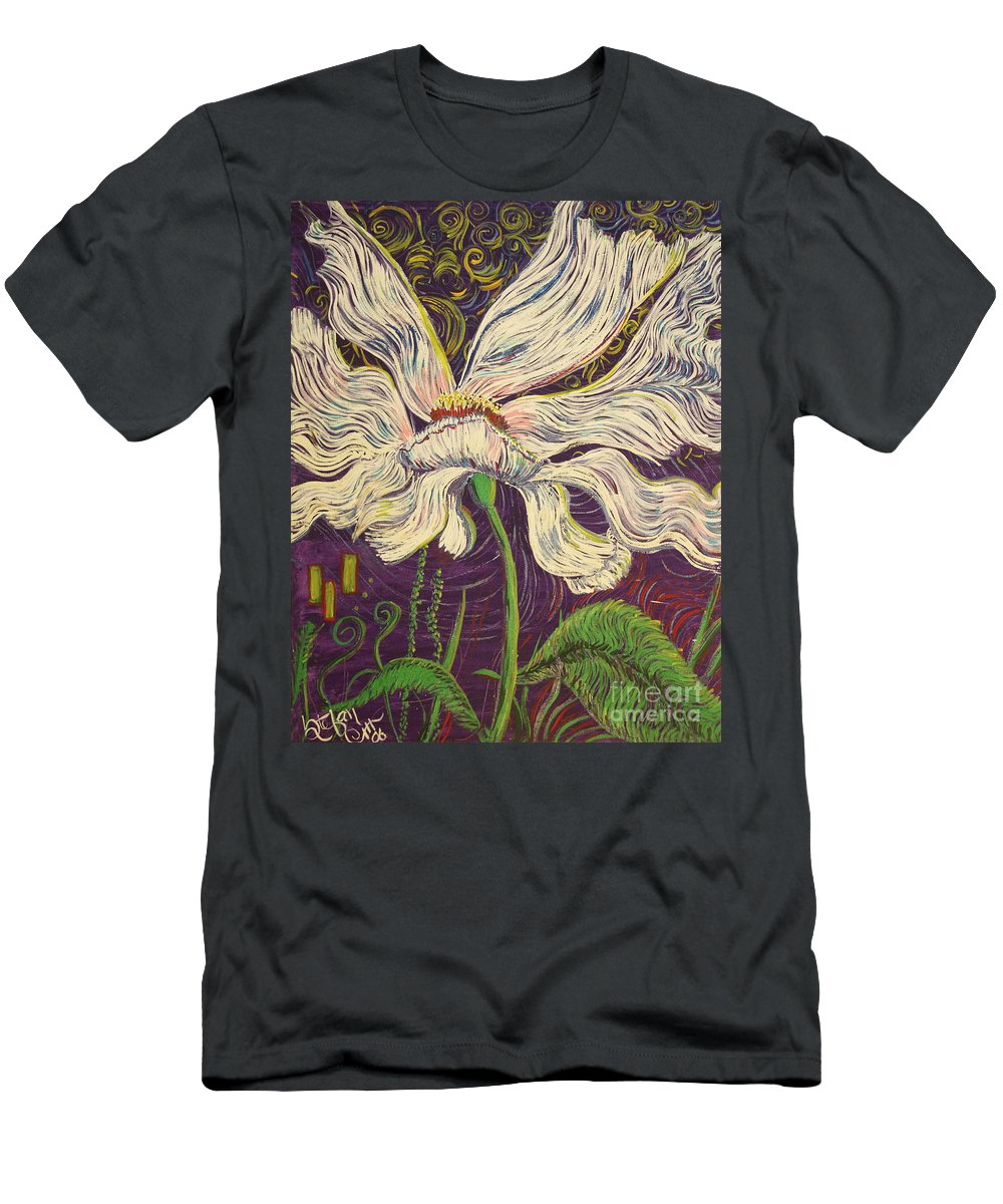 White Flower Men's T-Shirt (Athletic Fit) featuring the painting White Flower Series 6 by Stefan Duncan