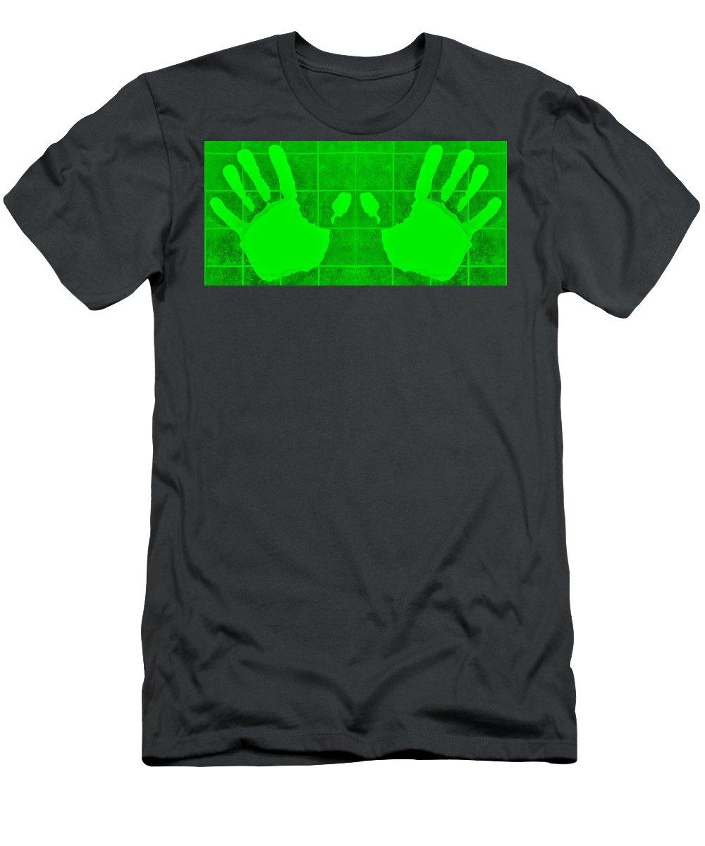 Hand Men's T-Shirt (Athletic Fit) featuring the photograph White Hands Green by Rob Hans
