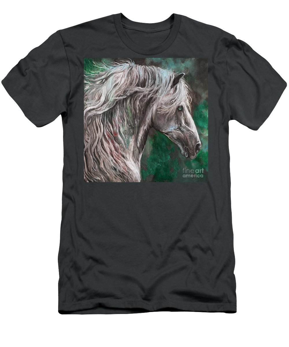 Horse Men's T-Shirt (Athletic Fit) featuring the painting White Horse Painting by Angel Ciesniarska