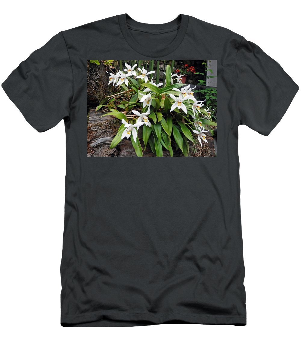 Orchid Men's T-Shirt (Athletic Fit) featuring the photograph White Orchids by Pema Hou