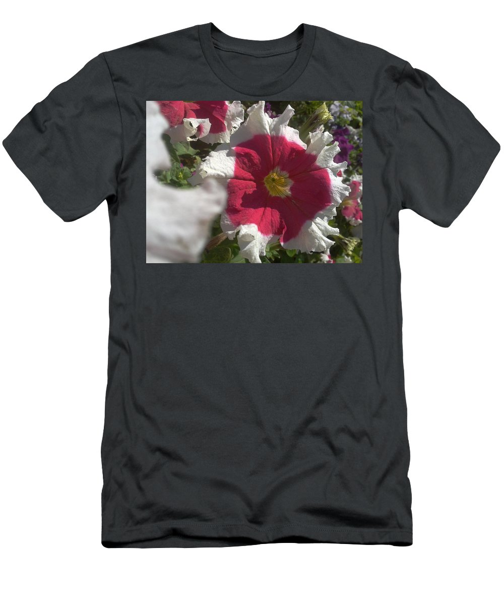 Petunia Men's T-Shirt (Athletic Fit) featuring the photograph White-red Petunia by Artist Nandika Dutt