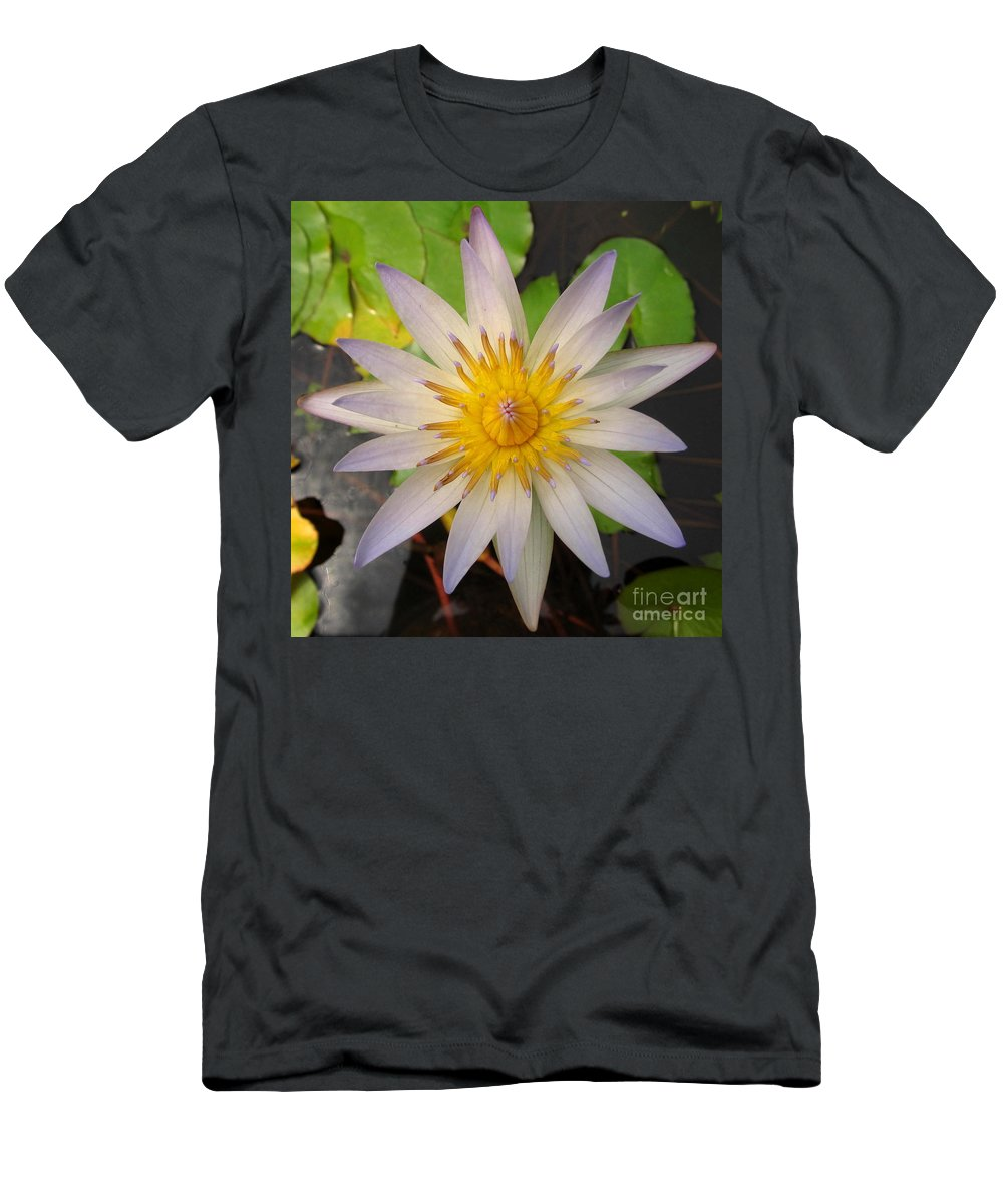 White Star Lotus White Lotus Flower Aquatic Flowers Aquatic Flora Aquatic Plants Water Garden Flora Pond Plants White Water Lily Lotus Blooms Lotus Blossoms Divine Design In Nature Rare Flowers Exotic Flora Beautiful Being Men's T-Shirt (Athletic Fit) featuring the photograph White Star Lotus by Joshua Bales