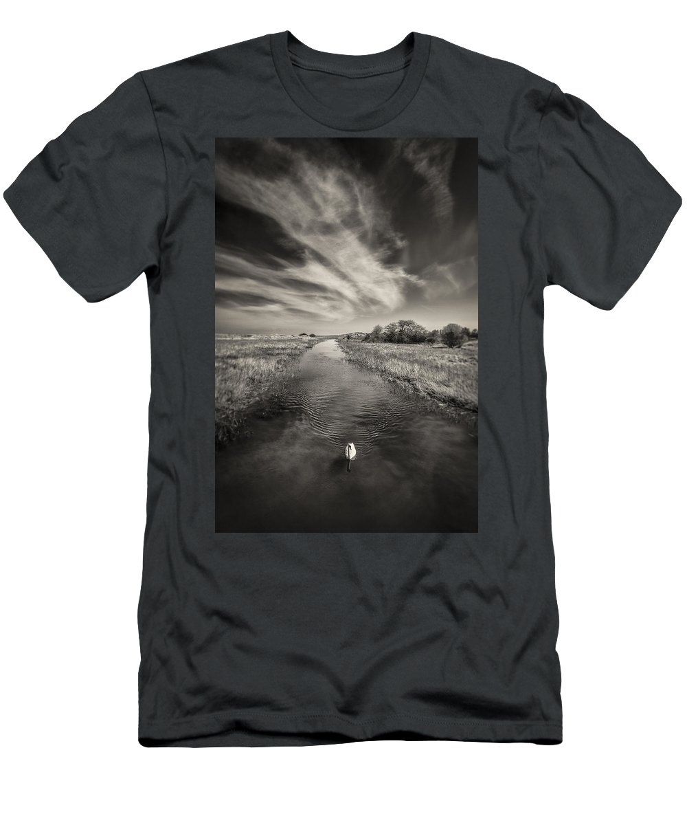 White Swan Men's T-Shirt (Athletic Fit) featuring the photograph White Swan by Dave Bowman