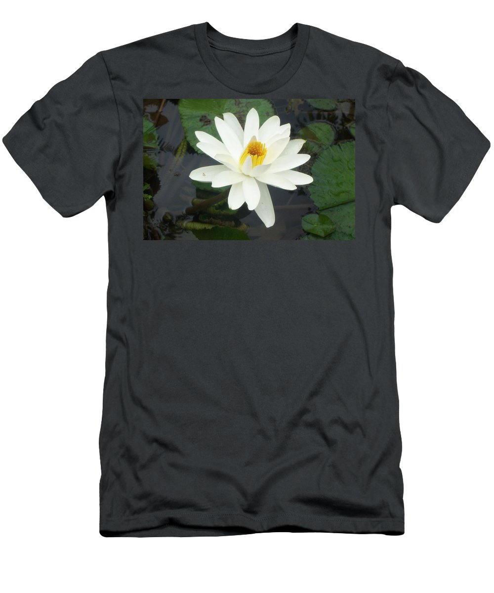 White Water Lily Men's T-Shirt (Athletic Fit) featuring the photograph White Water Lily by Cornelia DeDona