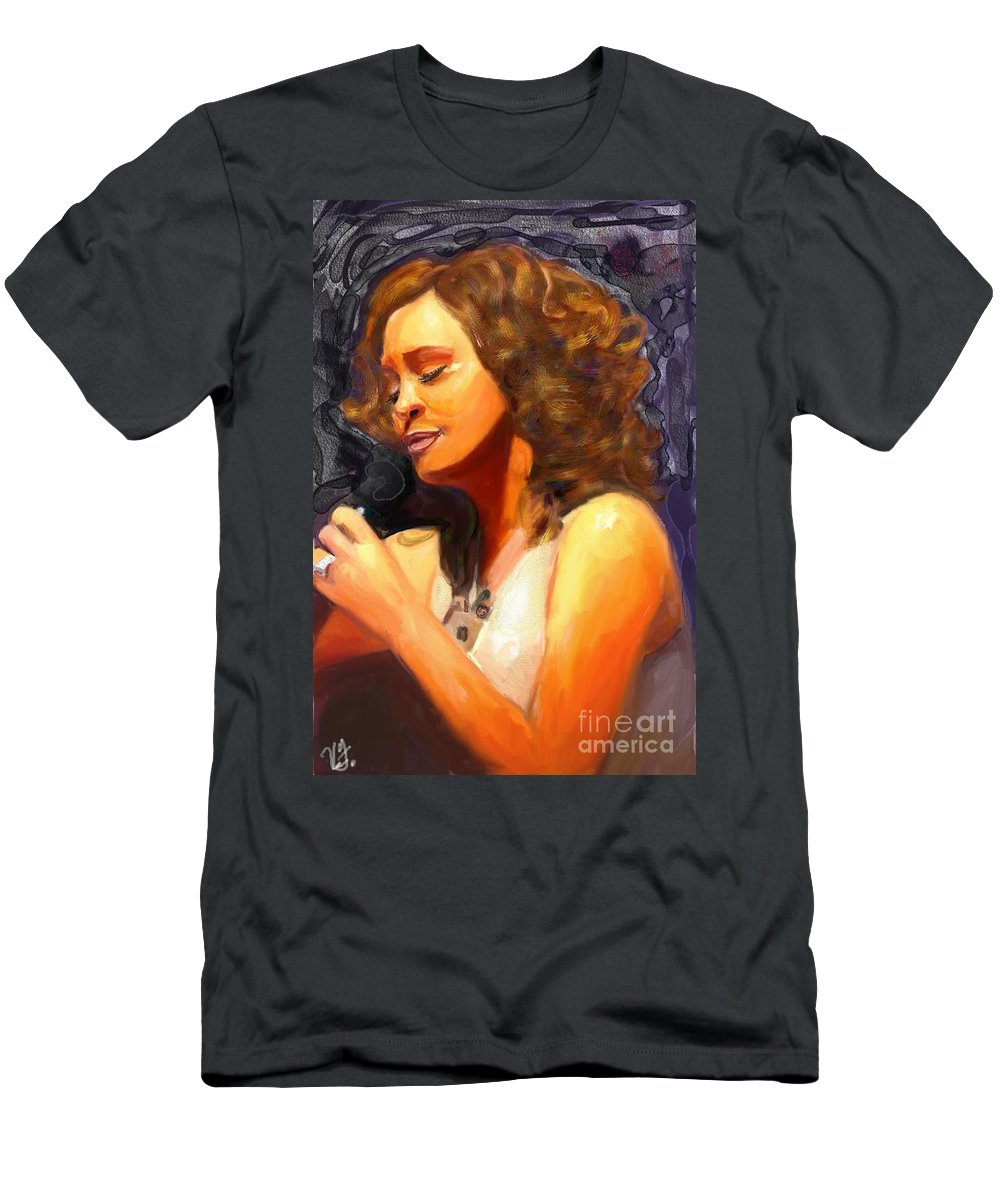 Witney Houston Men's T-Shirt (Athletic Fit) featuring the painting Whitney Gone Too Soon by Vannetta Ferguson