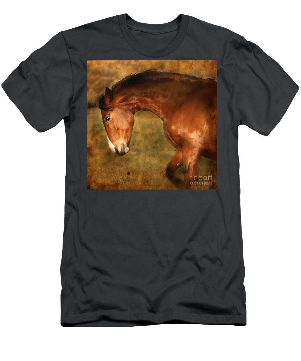 Horse Men's T-Shirt (Athletic Fit) featuring the photograph Wild by Angel Ciesniarska