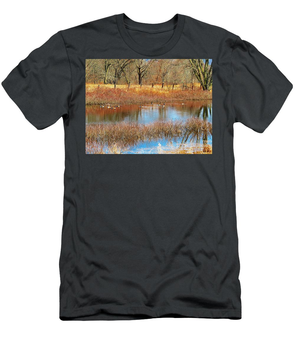 Canadian Geese Men's T-Shirt (Athletic Fit) featuring the photograph Wild Geese On The Farm by MTBobbins Photography