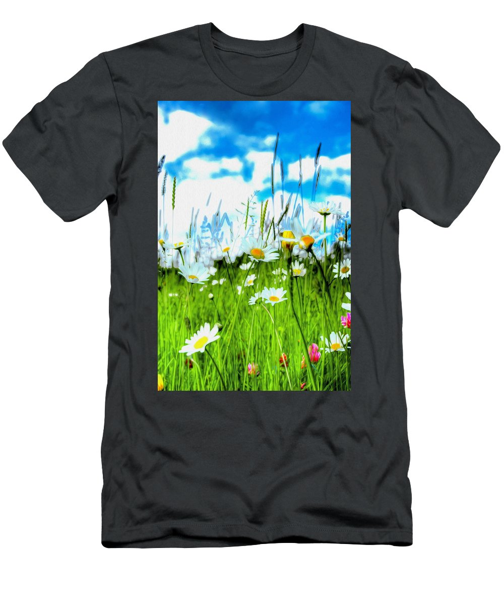 Daisy Men's T-Shirt (Athletic Fit) featuring the photograph Wild Ones - Daisy Meadow by P Donovan