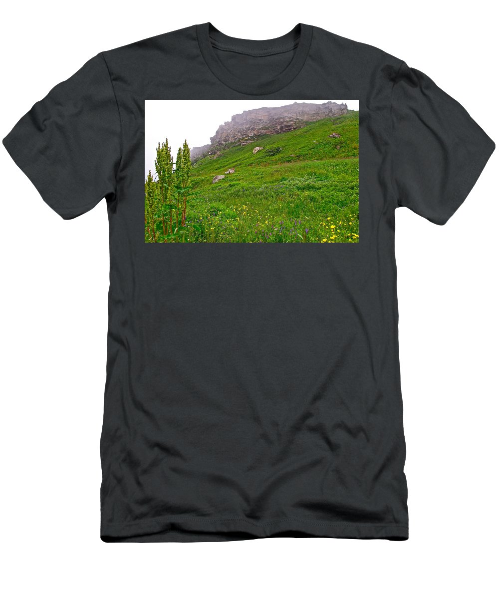 Wildflowers And Mountainous Bluffs At Point Amour In Labrador Men's T-Shirt (Athletic Fit) featuring the photograph Wildflowers And Mountainous Bluffs At Point Amour In Labrador by Ruth Hager