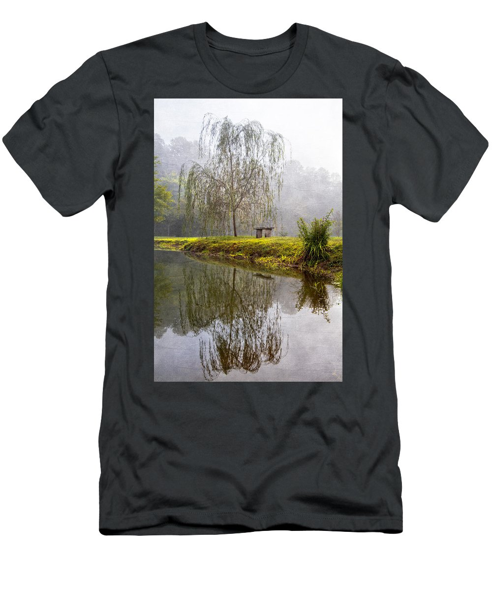 Carolina Men's T-Shirt (Athletic Fit) featuring the photograph Willow Tree At The Pond by Debra and Dave Vanderlaan