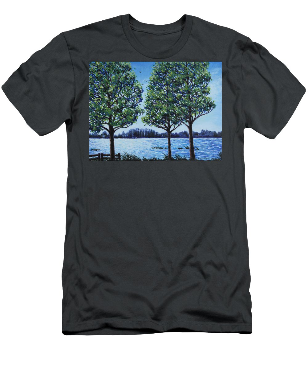 Lake Men's T-Shirt (Athletic Fit) featuring the painting Wind In The Trees by Penny Birch-Williams