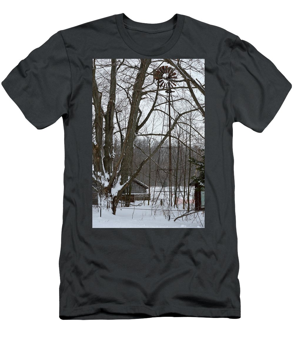Windmill Men's T-Shirt (Athletic Fit) featuring the photograph Windmill by Linda Kerkau