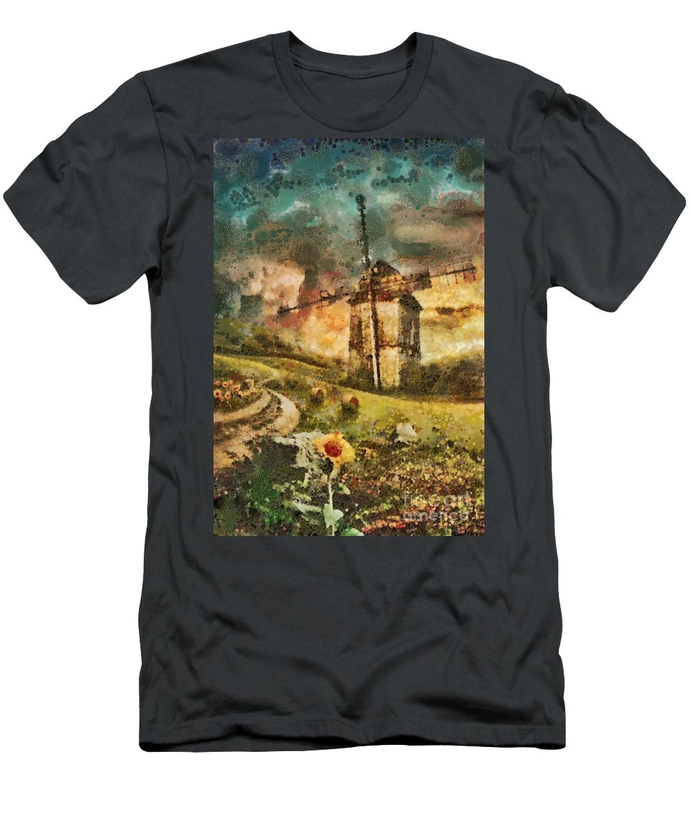 Windmill Men's T-Shirt (Athletic Fit) featuring the painting Windmill by Mo T