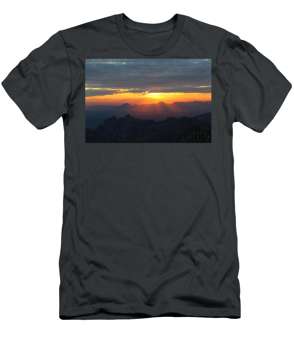 Windy Point Sunset Men's T-Shirt (Athletic Fit) featuring the photograph Windy Point Sunset 2 by Kume Bryant