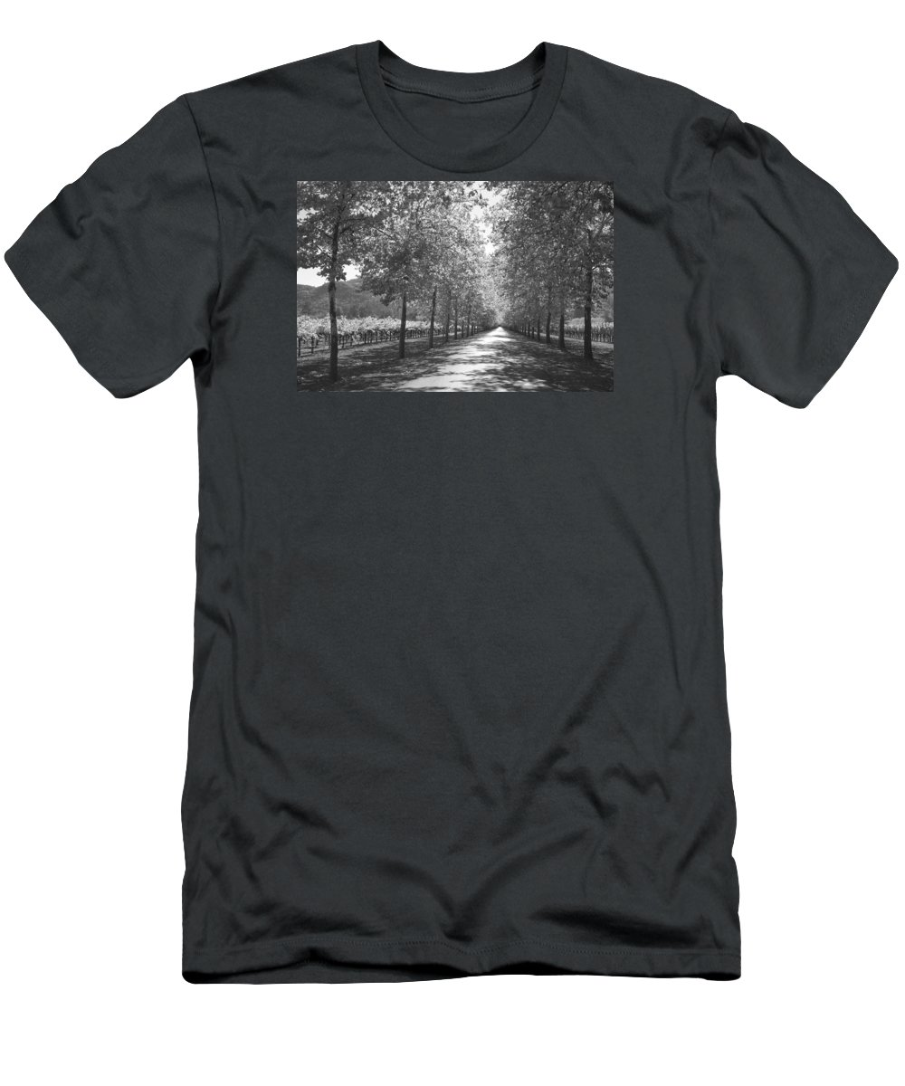 Black And White Men's T-Shirt (Athletic Fit) featuring the photograph Wine Country Napa Black And White by Suzanne Gaff