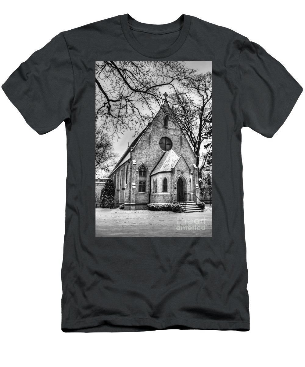 Church; Religion; Religious; Building; Worship; Arches; Windows; Doors; Steps; Stained Glass; Black And White; Monochrome; Cross; Snow; Snow Covered; Bushes; Facade; Branches; Winter; Eerie; Brick; Catholic; Christian Men's T-Shirt (Athletic Fit) featuring the photograph Winter Church by Margie Hurwich