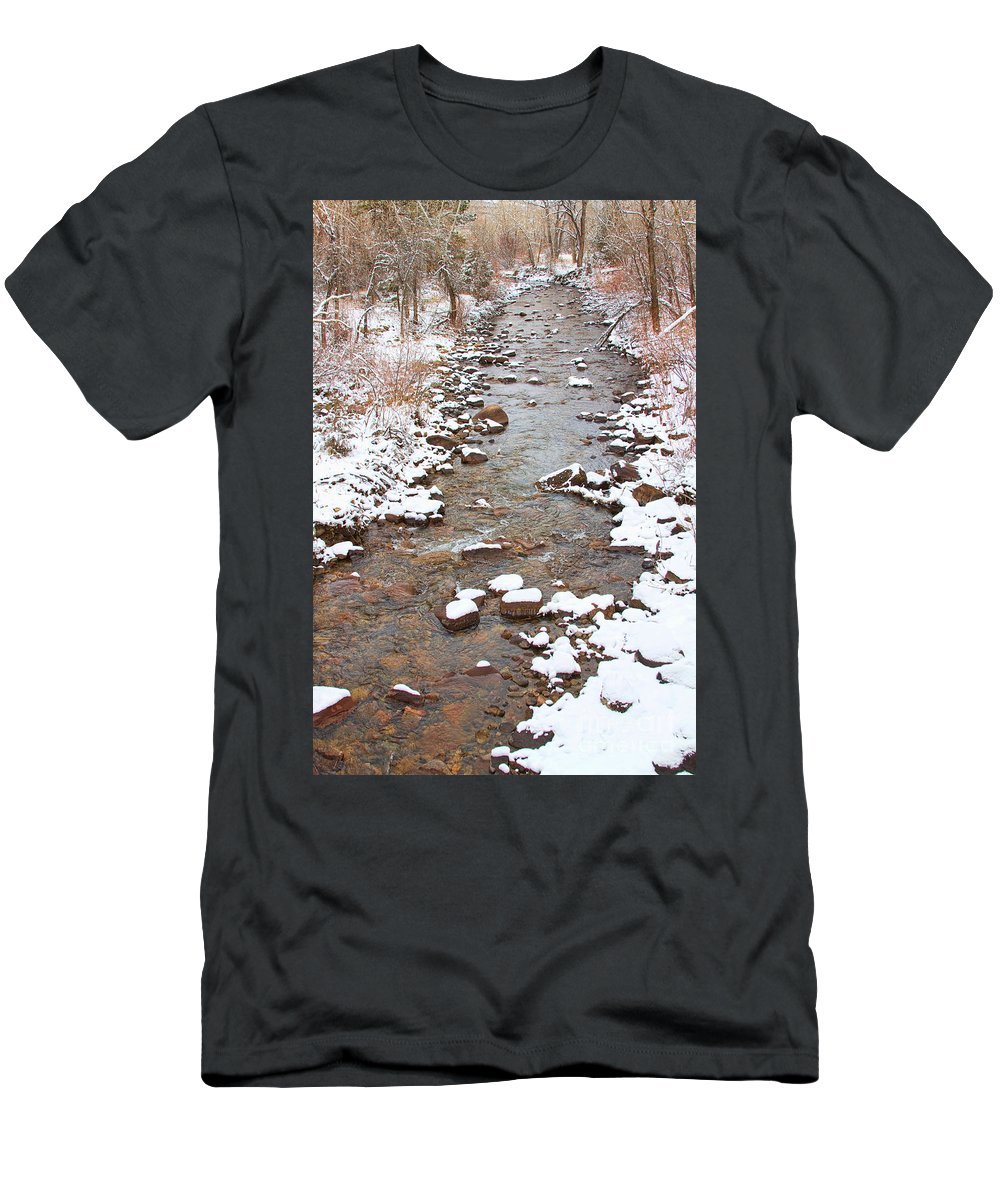 Winter Men's T-Shirt (Athletic Fit) featuring the photograph Winter Creek Scenic View by James BO Insogna