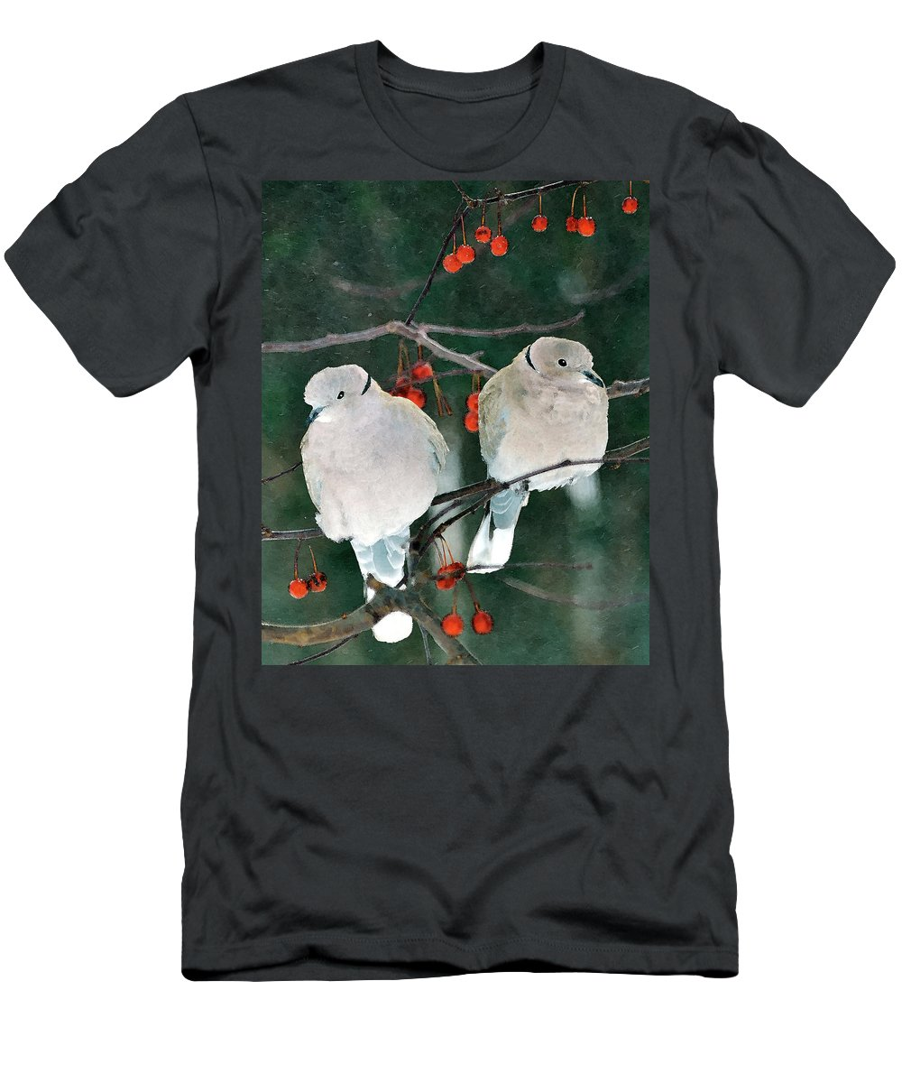 Eurasian Collared Doves Men's T-Shirt (Athletic Fit) featuring the digital art Winter Doves by Betty LaRue