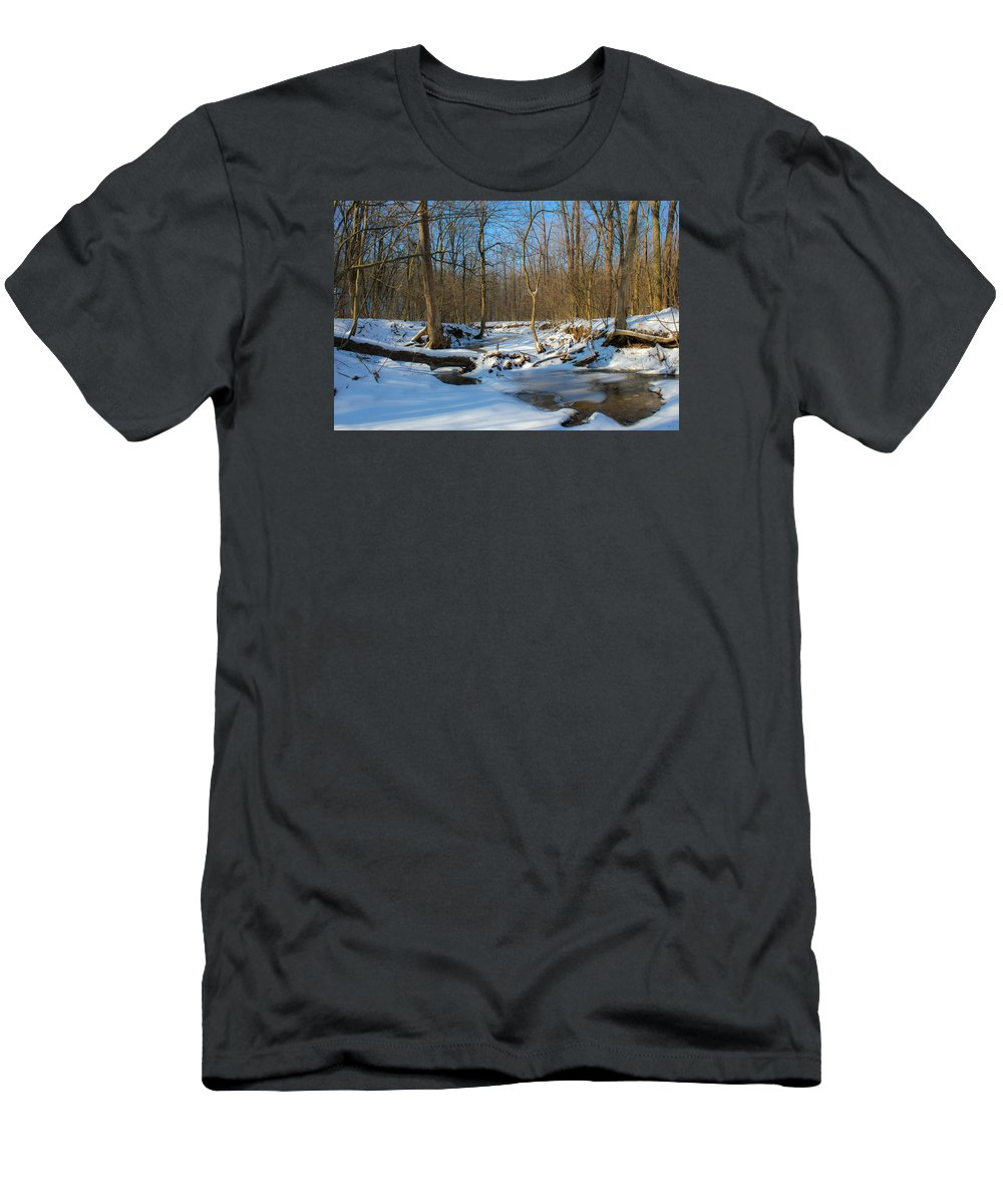 Forest Men's T-Shirt (Athletic Fit) featuring the photograph Winter Forest Stream by Harold Hopkins