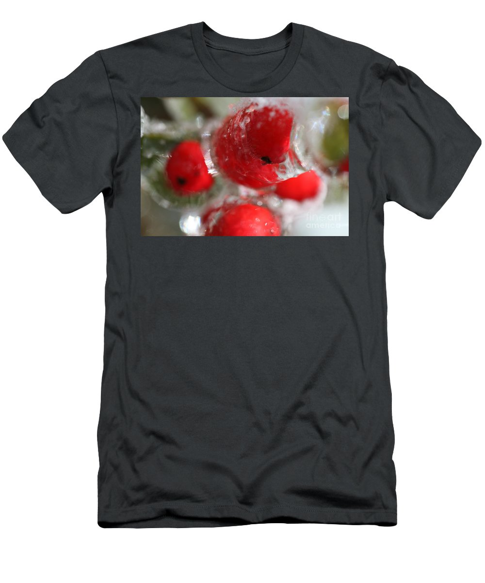 Berries T-Shirt featuring the photograph Winter Frozen Berries by Nadine Rippelmeyer