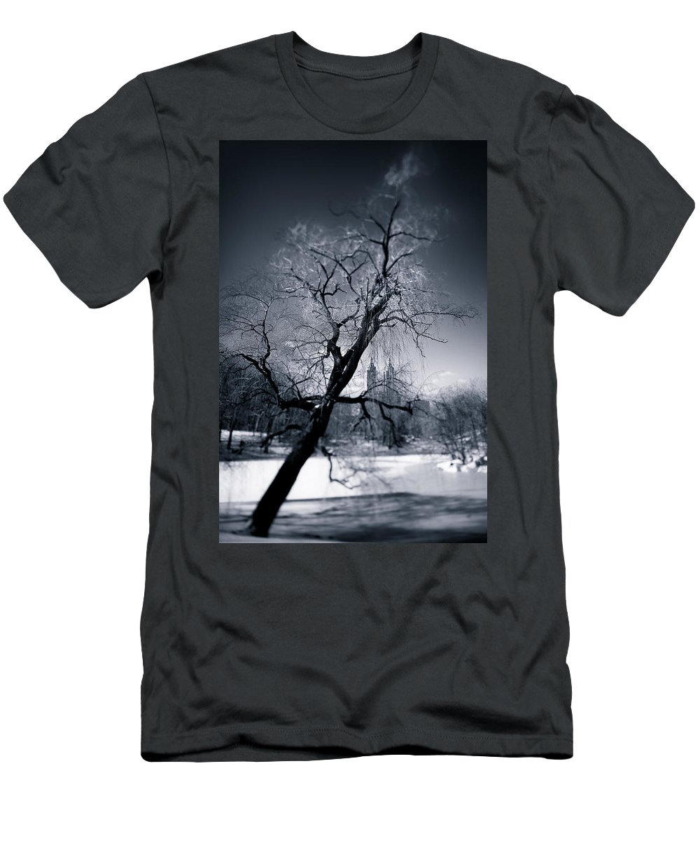 New York Men's T-Shirt (Athletic Fit) featuring the photograph Winter In Central Park by Dave Bowman