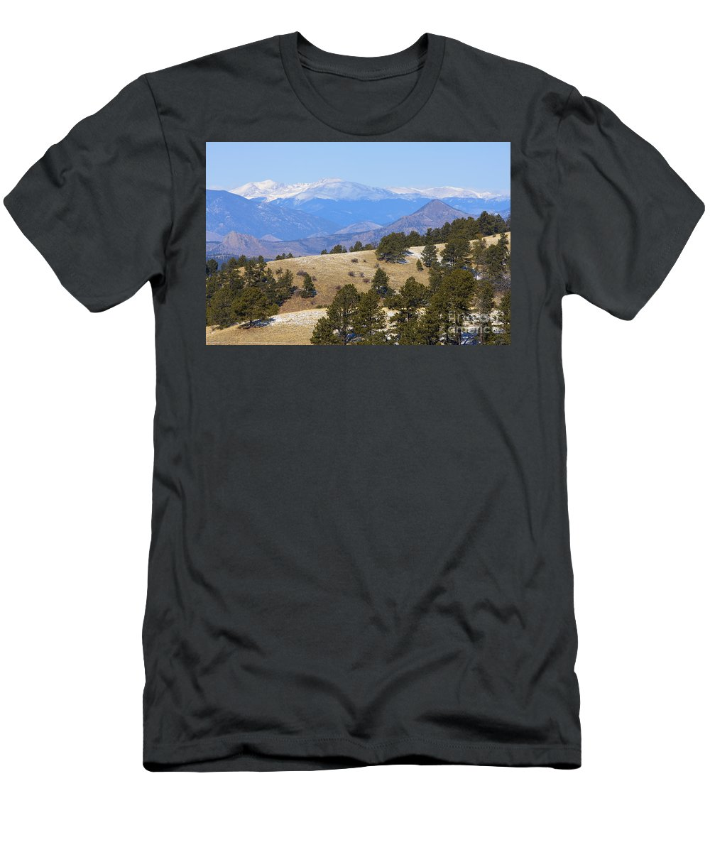 Nature Men's T-Shirt (Athletic Fit) featuring the photograph Winter In The Pike National Forest by Steve Krull
