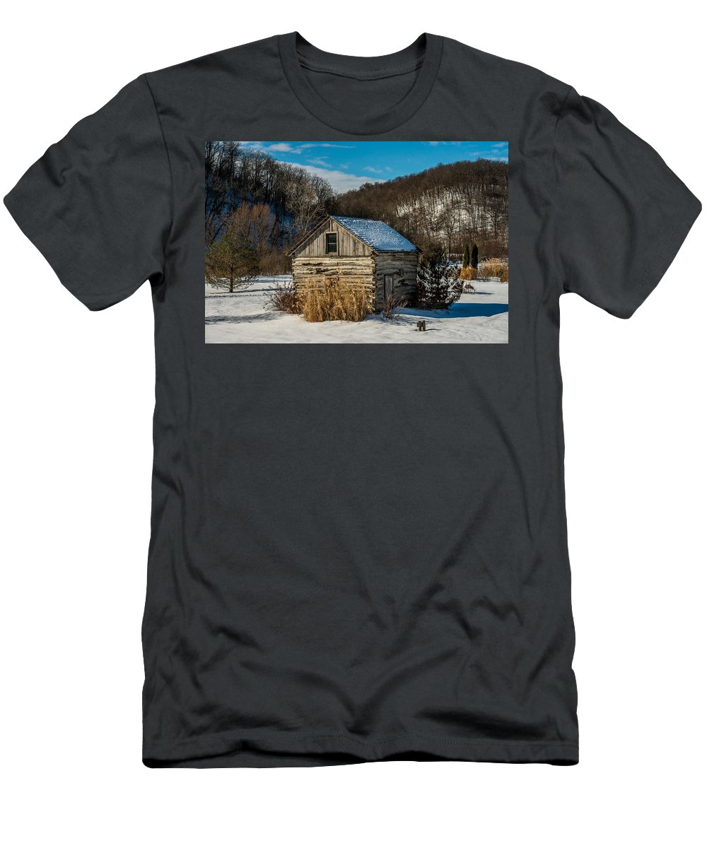 Paul Men's T-Shirt (Athletic Fit) featuring the photograph Winter Logcabin by Paul Freidlund