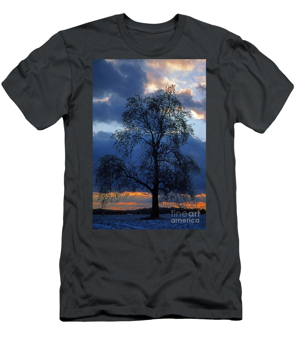 Nature Men's T-Shirt (Athletic Fit) featuring the photograph Winter Sunset by Skip Willits