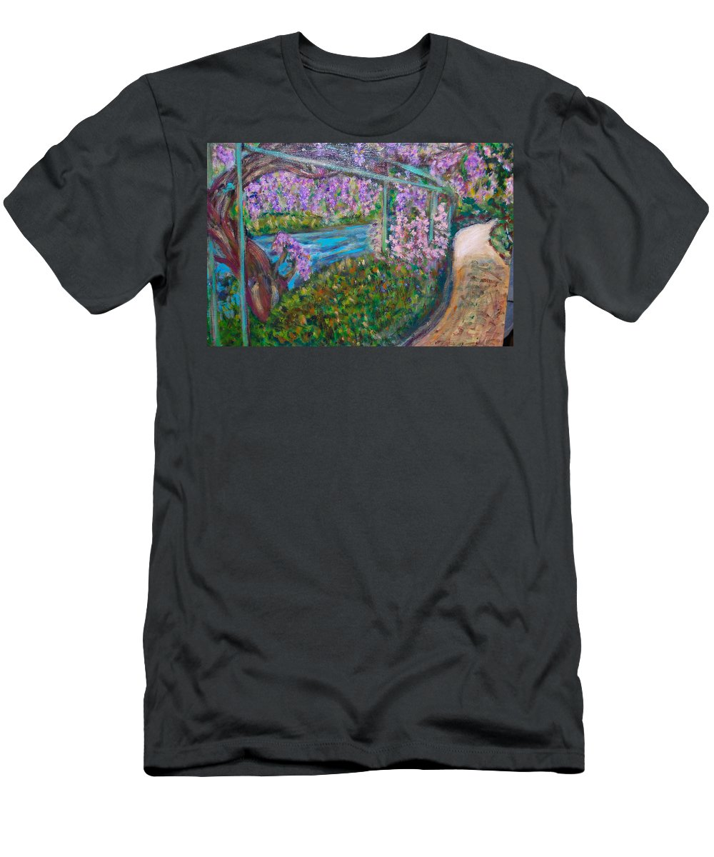 Wisteria Men's T-Shirt (Athletic Fit) featuring the painting Wisteria by Carolyn Donnell