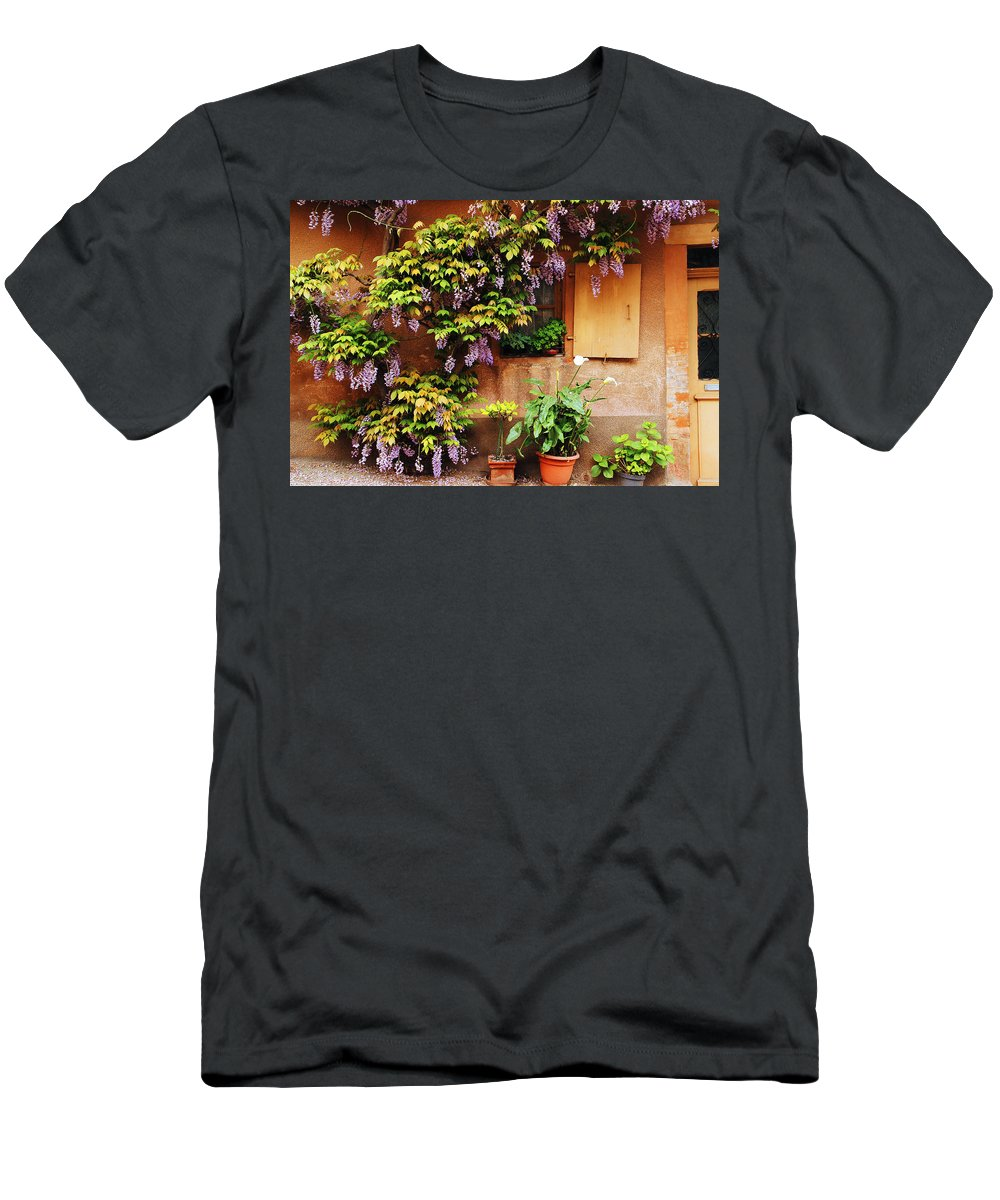 Wisteria Men's T-Shirt (Athletic Fit) featuring the photograph Wisteria On Home In Zellenberg France by Greg Matchick