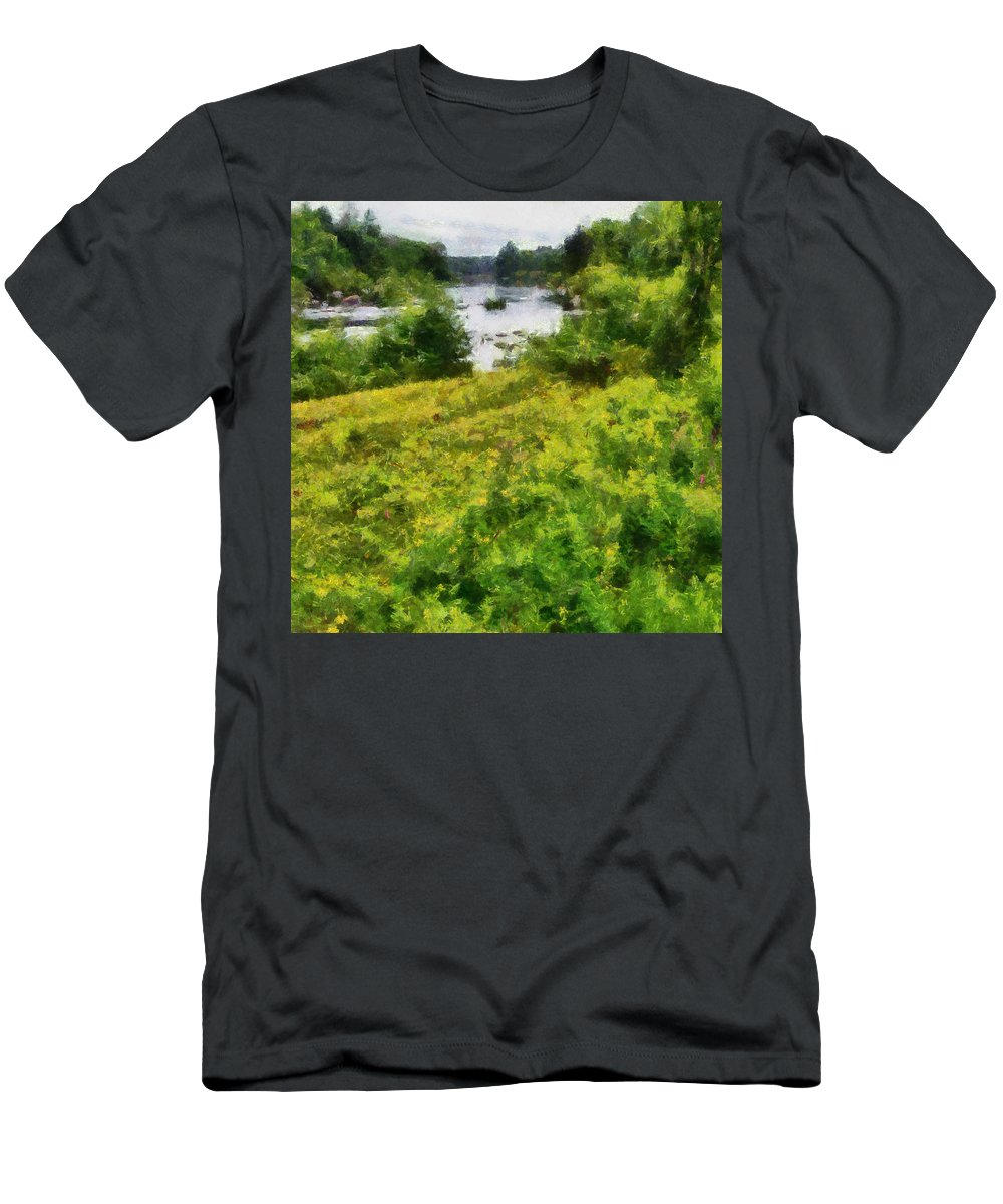 River Men's T-Shirt (Athletic Fit) featuring the painting Wolf River by Michelle Calkins