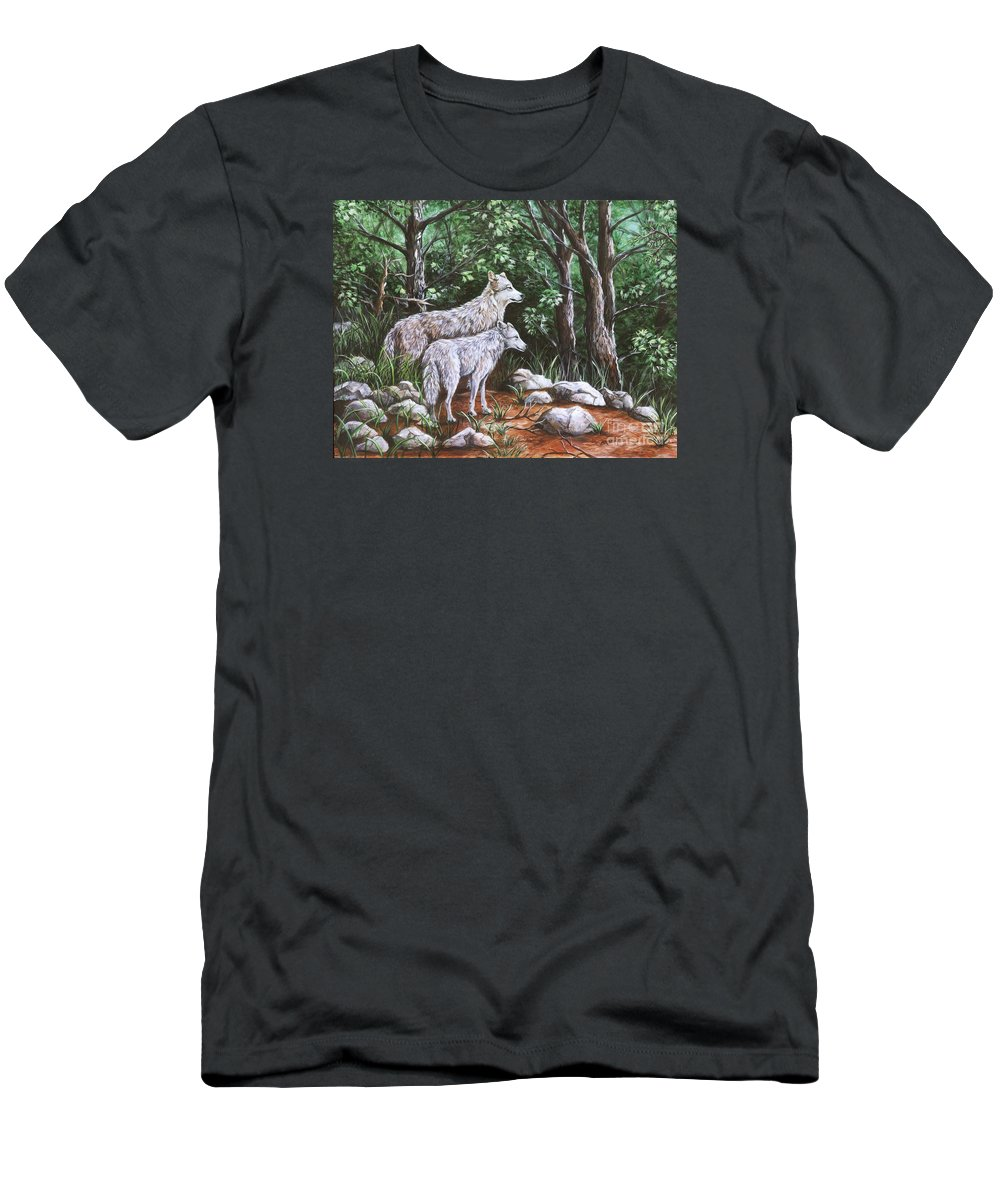 Wolf Men's T-Shirt (Athletic Fit) featuring the painting Wolves In South Dakota by Sharon Molinaro