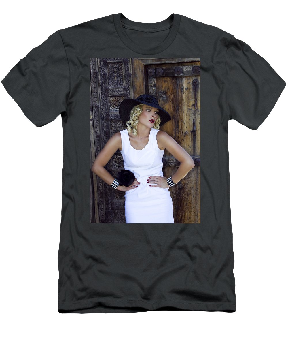 Female Men's T-Shirt (Athletic Fit) featuring the photograph Woman In White Palm Springs by William Dey