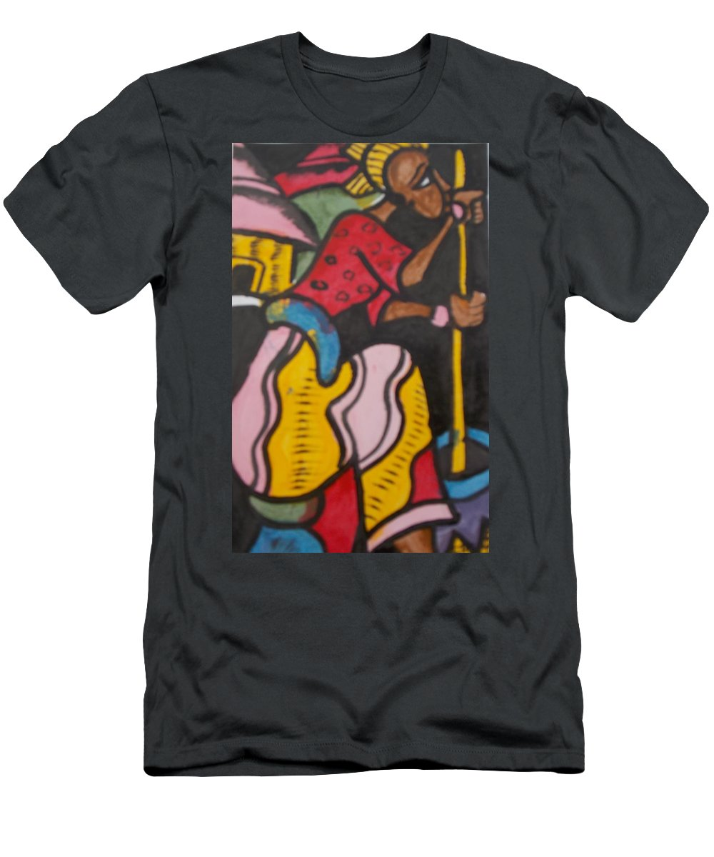 Stool Men's T-Shirt (Athletic Fit) featuring the painting Woman With Head Tie And Bangles On Her Wrist Stirring The Wheat Corn On A Bowl by Okunade Olubayo