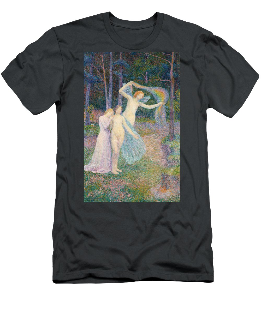 Women Amongst The Trees Men's T-Shirt (Athletic Fit) featuring the painting Women Amongst The Trees by Hippolyte Petitjean