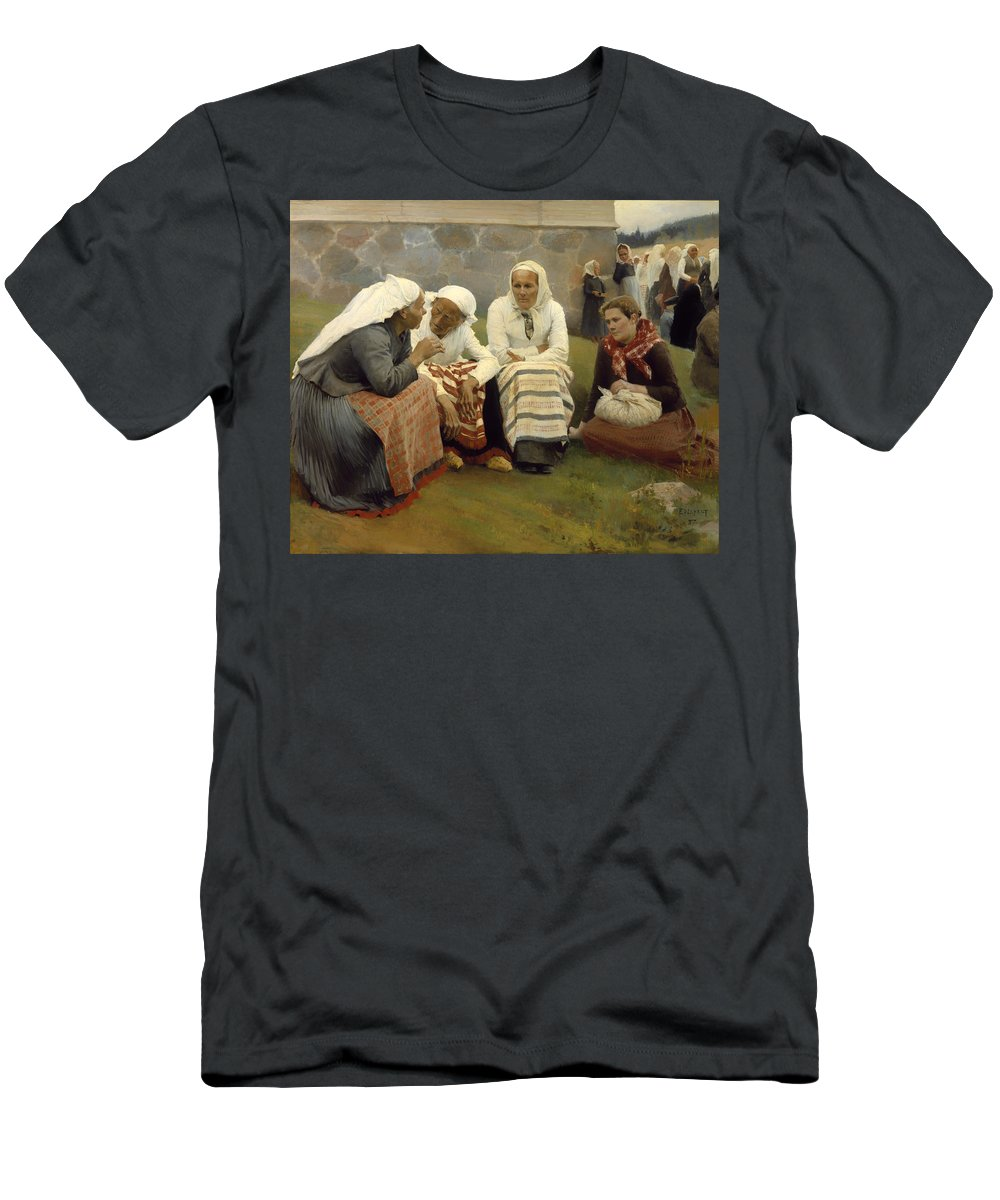 Painting Men's T-Shirt (Athletic Fit) featuring the painting Women Outside The Church - Finland by Mountain Dreams