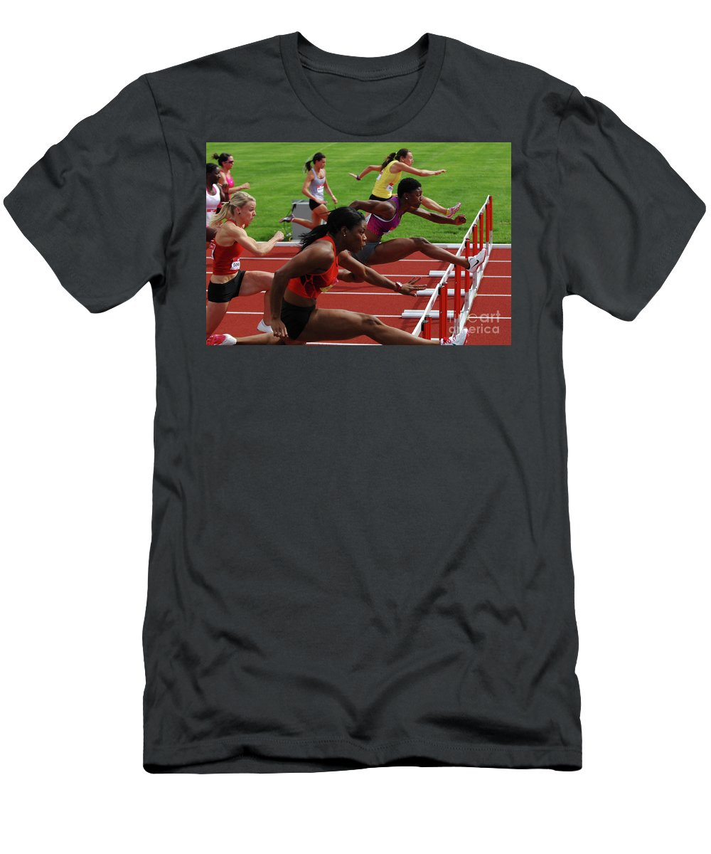 Canadian Track And Field National Championships Men's T-Shirt (Athletic Fit) featuring the photograph Womens Hurdles 3 by Bob Christopher