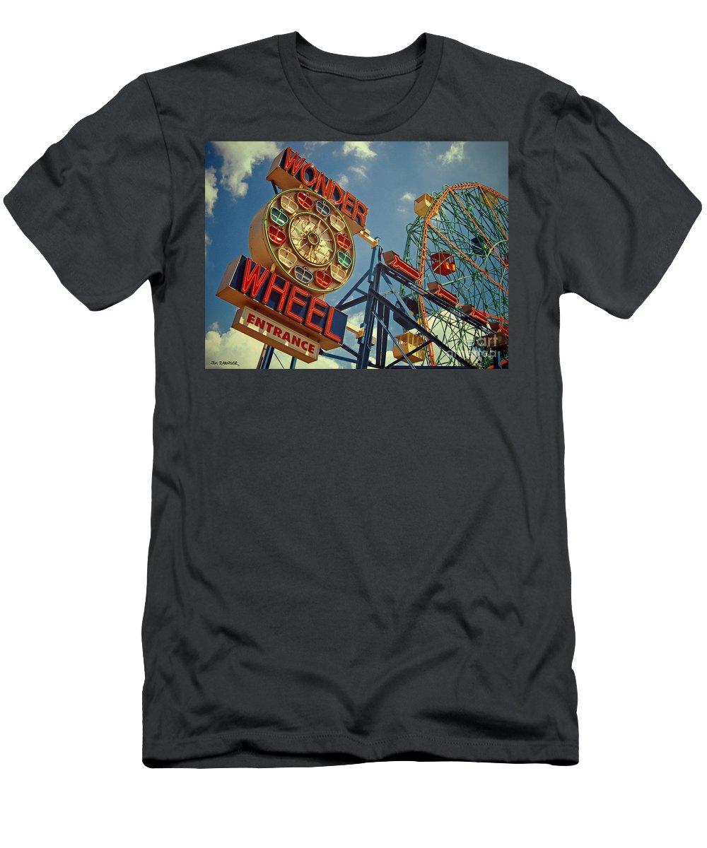 Wonder Wheel Men's T-Shirt (Athletic Fit) featuring the digital art Wonder Wheel - Coney Island by Carrie Zahniser