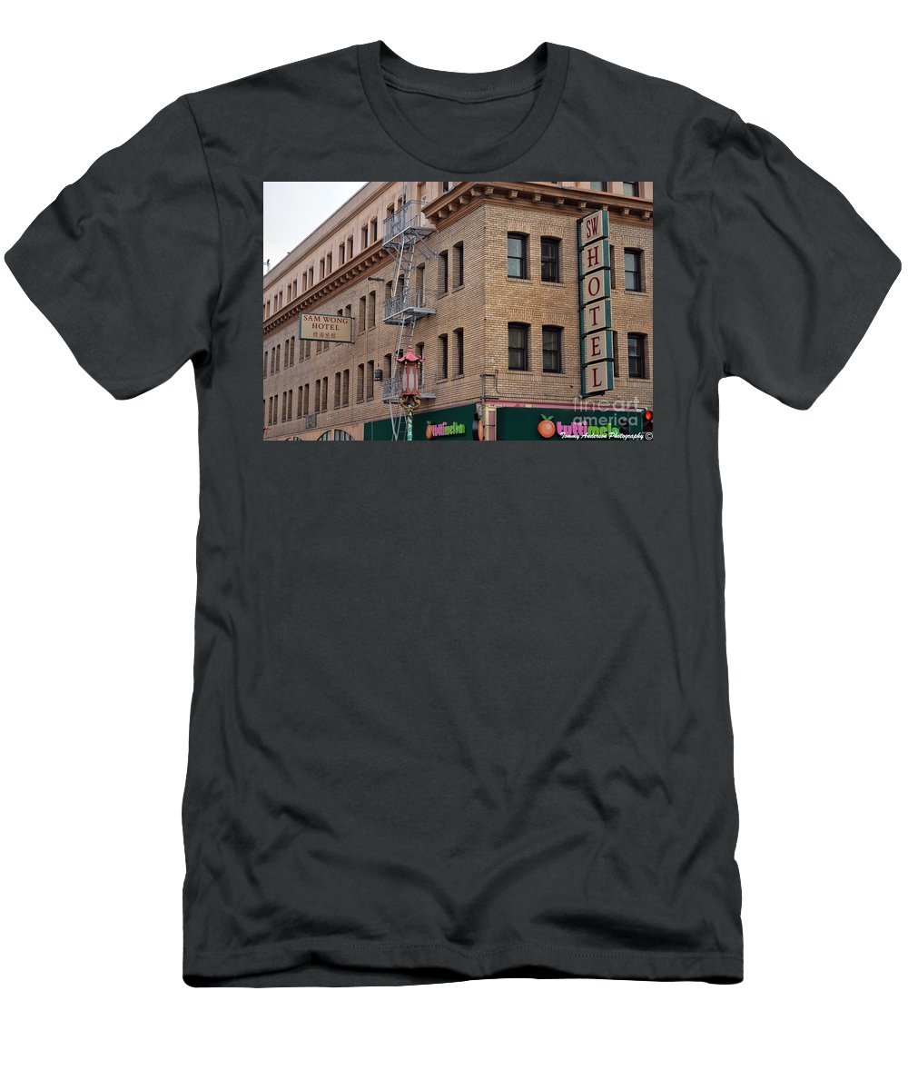 Wong Hotel Men's T-Shirt (Athletic Fit) featuring the photograph Wong Hotel by Tommy Anderson