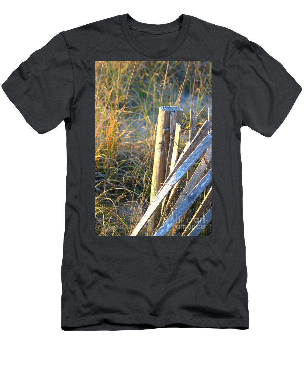 Post Men's T-Shirt (Athletic Fit) featuring the photograph Wooden Post And Fence At The Beach by Nadine Rippelmeyer