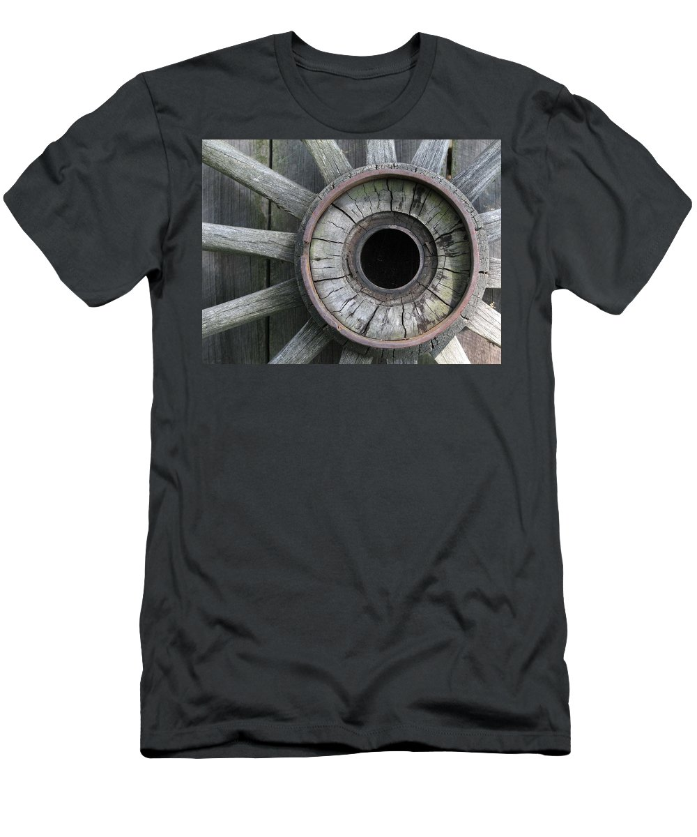Wheel Men's T-Shirt (Athletic Fit) featuring the photograph Wooden Wheel by Natalie Rotman Cote