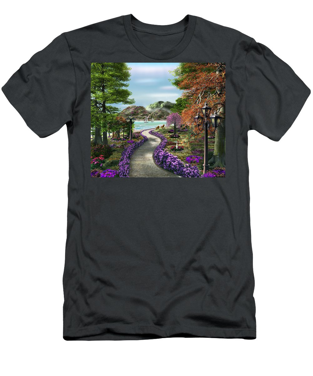 Caplyn Dor Men's T-Shirt (Athletic Fit) featuring the mixed media Woodland Path by Caplyn Dor