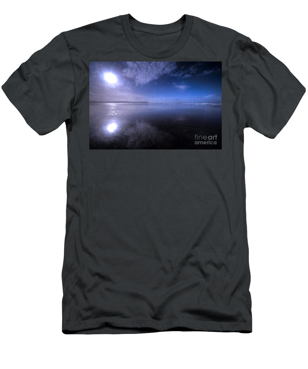 Woolacombe Men's T-Shirt (Athletic Fit) featuring the photograph Woolacombe Beach In Blue by Rob Hawkins