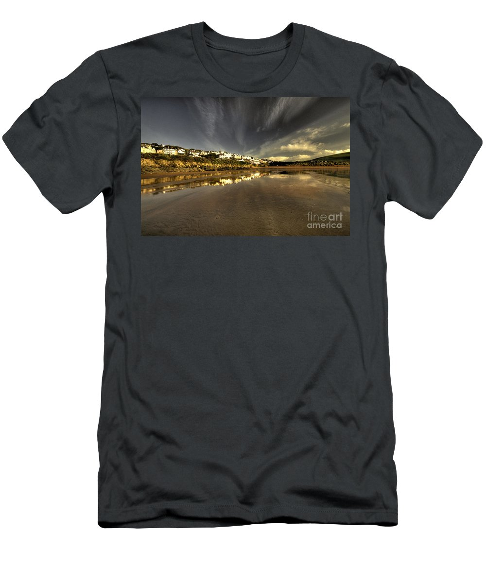 Woolacombe Men's T-Shirt (Athletic Fit) featuring the photograph Woolacombe Beach by Rob Hawkins