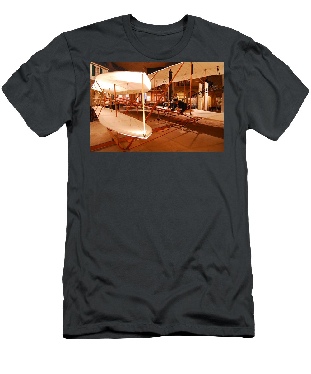 Aeroplane Men's T-Shirt (Athletic Fit) featuring the photograph Wright Brothers Memorial by Alex Grichenko
