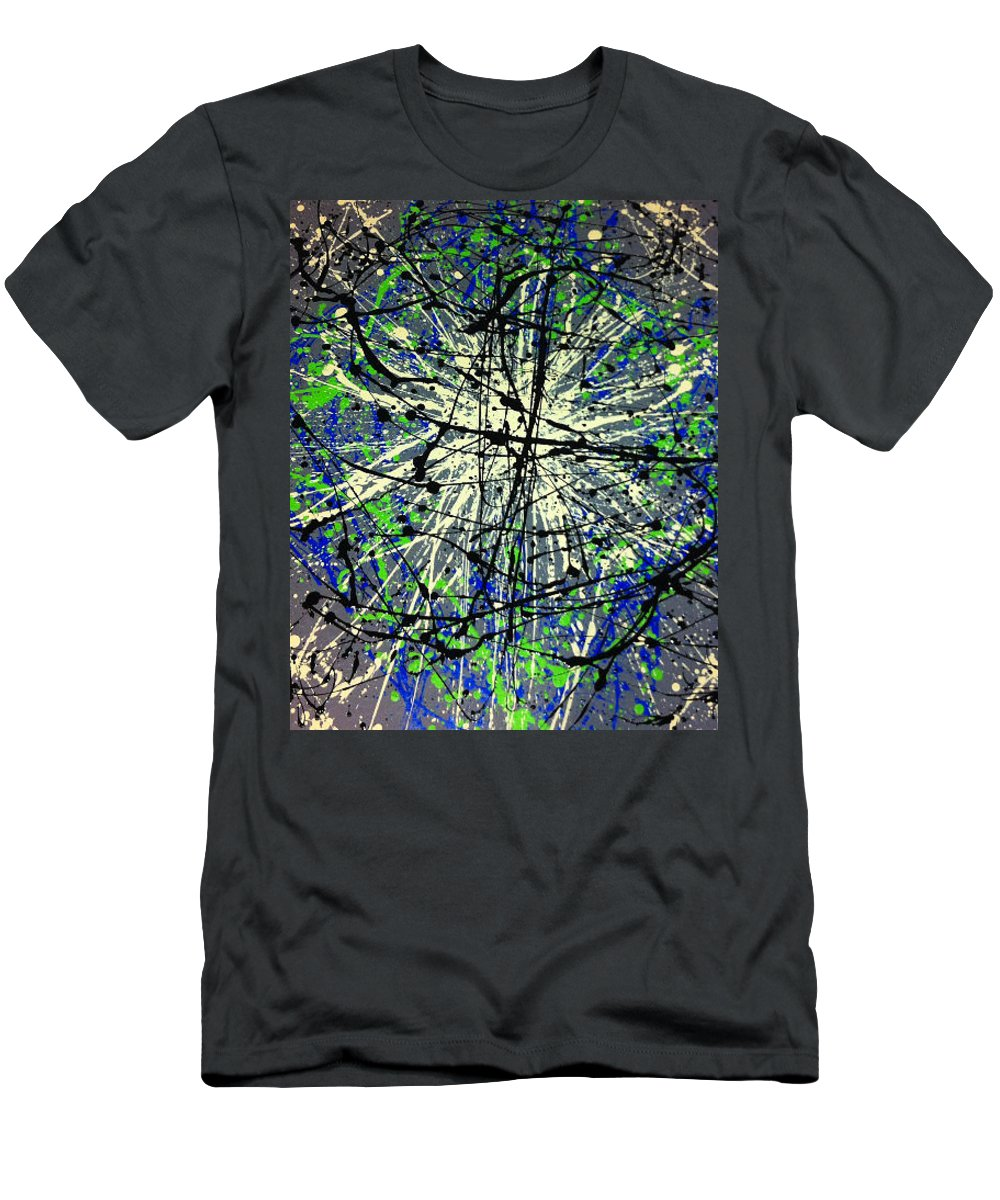 Abstract Drip Painting Grey Blue Green Buttermilk Black Men's T-Shirt (Athletic Fit) featuring the painting Xxplosive 2 by Sarah Torreblanca