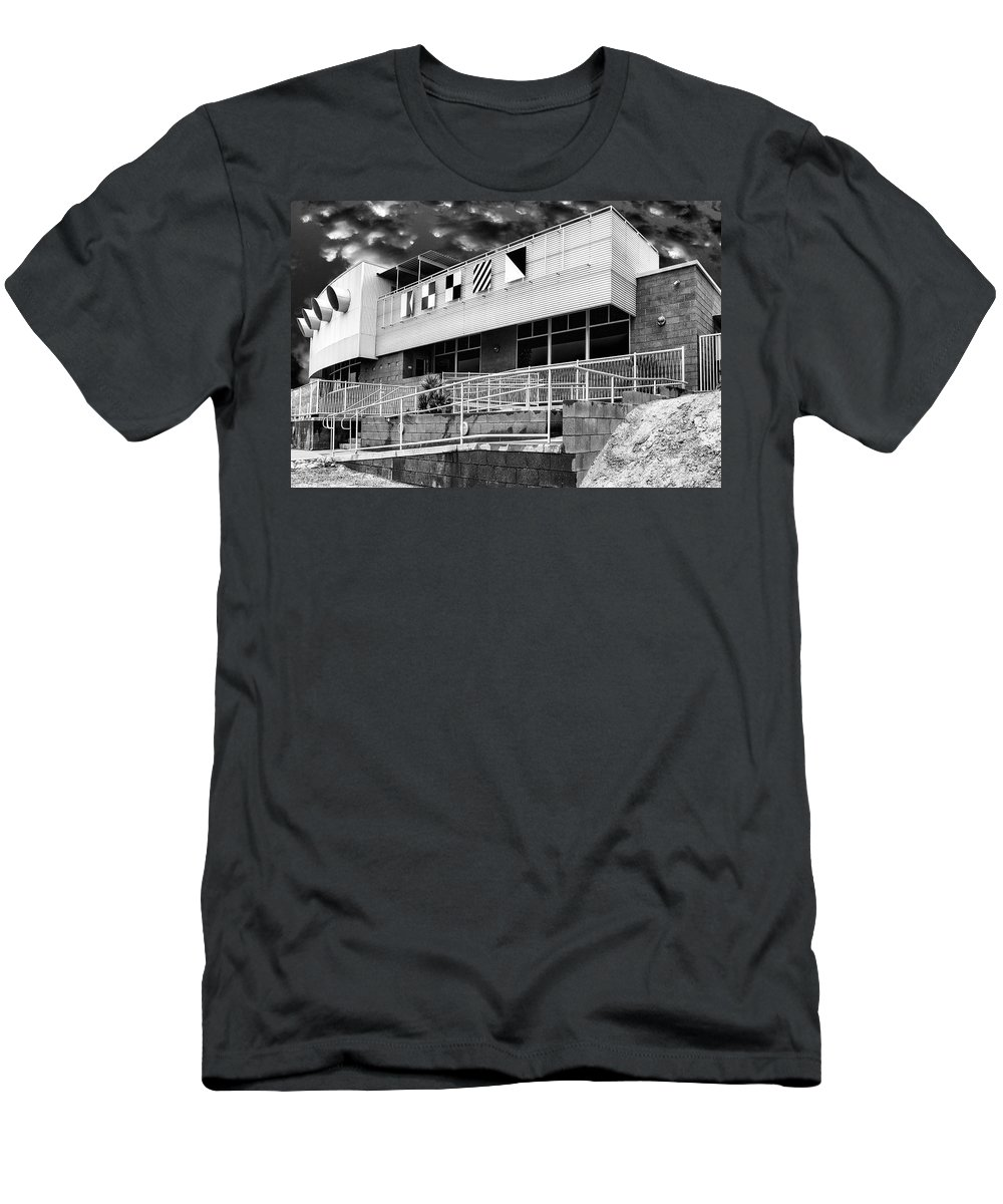 Palm Springs Men's T-Shirt (Athletic Fit) featuring the photograph Yacht Rock Bw North Shore Yacht Club Salton Sea by William Dey